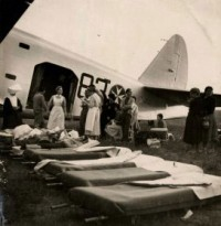 Hospital aircraft of the Order of Malta set to transport the injured, 1950